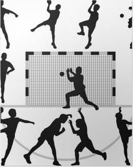 Poster Vecteur de silhouette de handball