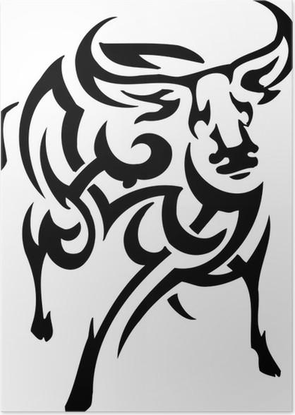 Poster Vecteur vilyl-prêt illustration - des animaux dans le style tribal - Animaux imaginaires