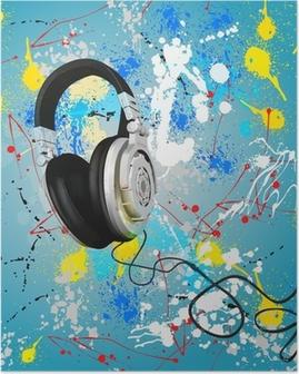 Poster Vector abstracte hoofdtelefoon samenstelling