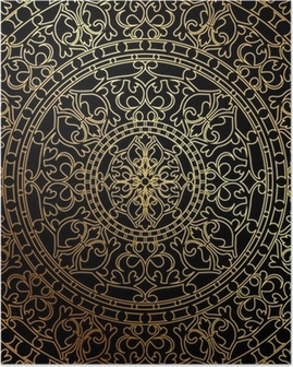 Vector black background with gold oriental ornament Poster
