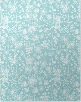Vector blue and white lace garden plants seamless pattern Poster
