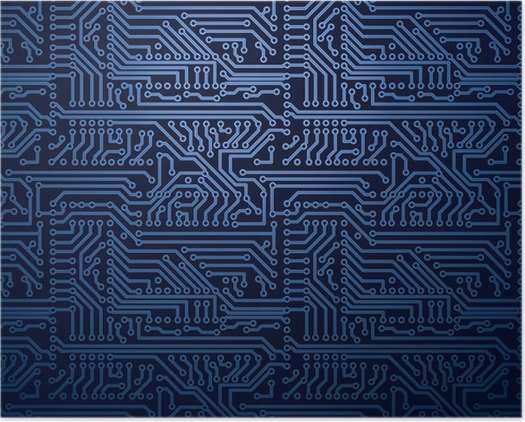 Vector blue circuit board background Poster • Pixers® • We live to ...