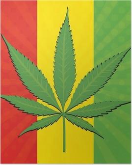 Vector cannabis leaf Poster