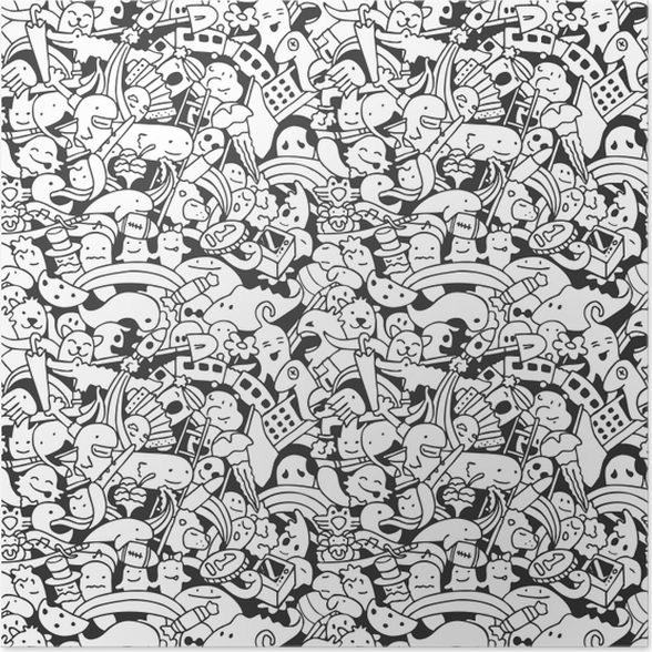 vector crazy doodle characters seamless pattern poster pixers