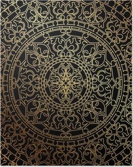 Póster Vector de fondo negro con el ornamento oriental oro