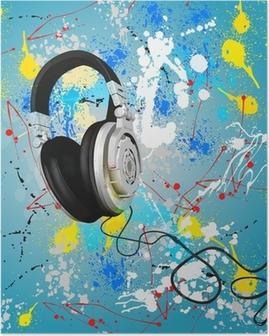Póster Vector de los auriculares abstractas composición