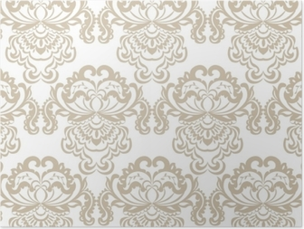 Vector floral damask baroque ornament pattern element. Elegant luxury texture for textile, fabrics or wallpapers backgrounds. Beige color Poster