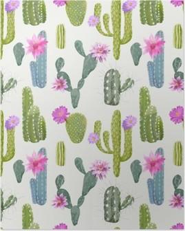 Póster Vector Fondo Cactus. Patrón sin fisuras. Planta exótica. Trópico
