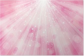 Poster Vector glitter roze achtergrond met stralen van licht en sterren.