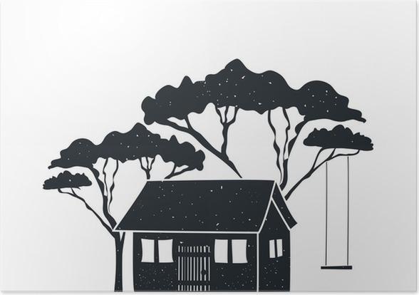 Schommel In Huis : Poster vector hand getrokken stijl zwart wit poster met huis