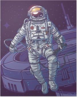Poster Vector illustratie kosmonaut,