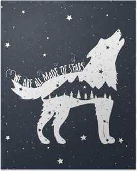 Poster Vector illustratie met huilende wolf, bergen en bomen