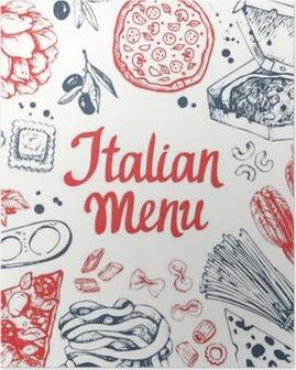 Poster Vector illustratie met pasta machine, ravioli en groenten.