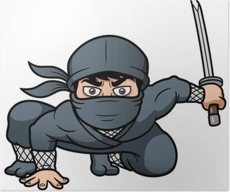 Poster Vector illustratie van Cartoon Ninja