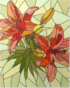 Poster Vector illustration de lys fleur rouge.