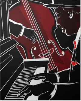 Vector illustration of a Jazz piano and double-bass Poster
