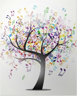 Vector Illustration of an Abstract Background with Music notes Poster