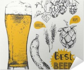 Vector illustration of beer and sausages. Pub menu. Poster