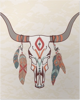 Vector illustration of bull skull with feathers Poster