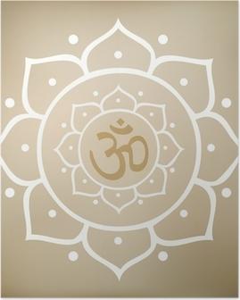 Poster Vector Lotus Mandala med Om-symbol
