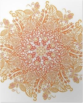 Vector mandala. White background. Red ornament. Poster