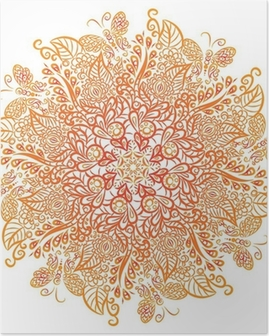 Poster Vector mandala. Witte achtergrond. Rood ornament.