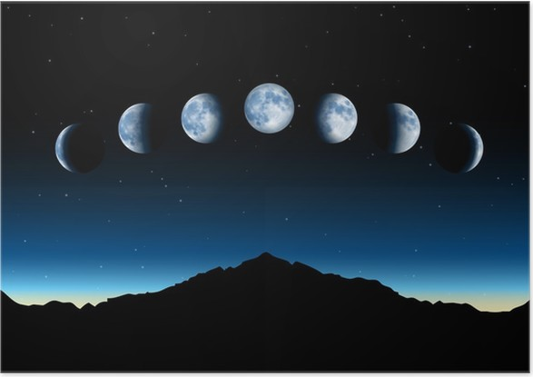 Vector Moon Phases Poster