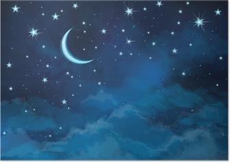 Poster Vector natthimlen bakgrund stjärnor och måne.