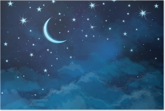 Vector night sky background stars and moon. Poster
