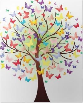 Poster Vector prachtige lente boom, bestaande uit vlinders