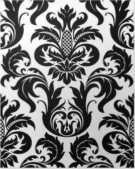 Vector seamless floral damask pattern Poster