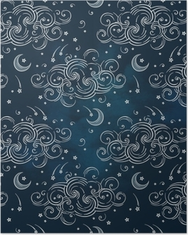 Vector seamless pattern with celestial bodies - moons, stars and clouds. Boho chic print hand drawn textile design Poster