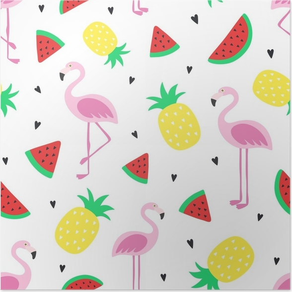 Vector Seamless Tropical Crazy Colors Pattern Pineapple Flamingos Watermelon Very Bright Colorful Cute Cartoon Background Wallpaper Fabric