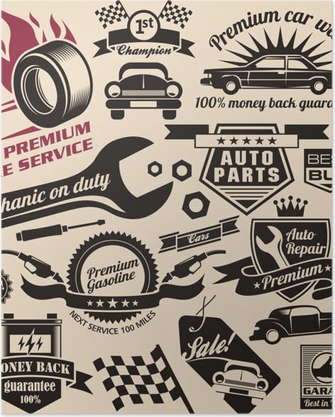 Vector Set Of Vintage Car Symbols And Logos Poster Pixers We