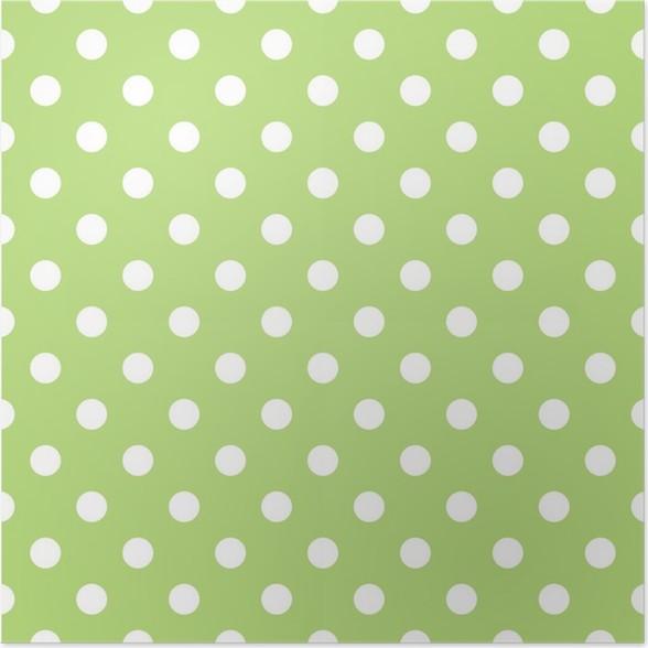 Póster Vector sin patrón con el fondo verde y los puntos blancos ...