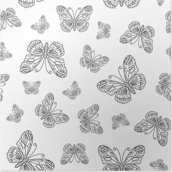 Póster Vector sin patrón de contorno de la mariposa. Fondo de libro ...