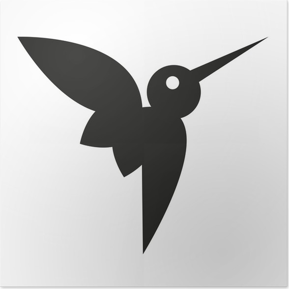 Vector Stylish Abstract Silhouette Hummingbird Icon Poster Pixers