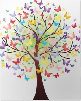 Poster Vector vackra våren träd, bestående av fjärilar