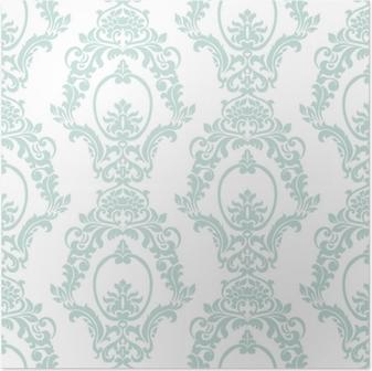 Poster Vector vintage damast patroon ornament keizerlijke stijl. sierlijk bloemenelement voor stof, textiel, ontwerp, trouwkaarten, wenskaarten, behang. opaal blauwe kleur