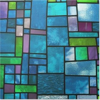 Poster Veelkleurige gebrandschilderd blauwe glazen venster, vierkant formaat