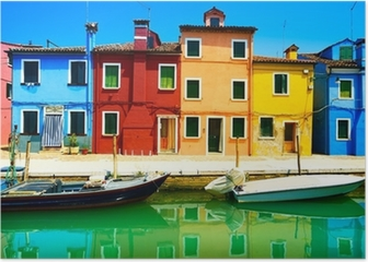 Venice landmark, Burano island canal, colorful houses and boats, Poster