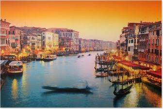 Poster Venise, Italie. Gondola flotte sur le Grand Canal au coucher du soleil