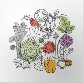 Póster Verduras alrededor de la composición. gráfico lineal. Fondo de verduras. estilo escandinavo. comida sana. ilustración vectorial