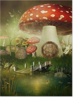Poster Verhalenboek huisje met een paddestoel