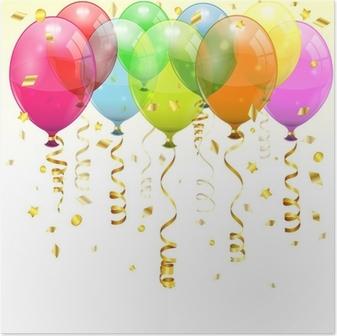 Poster Verjaardag Ballonnen
