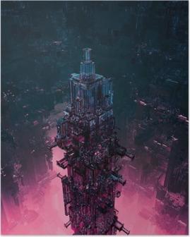 Poster Verre TechnoCentre ville / rendu 3D de la structure de science-fiction futuriste