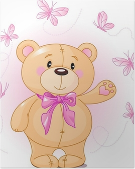 Very cute Teddy Bear waiving hello Poster