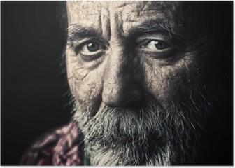 Very old homeless senior man portrait Poster
