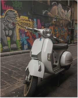 Poster Vespa scooter garé dans Hosier Lane, Melbourne