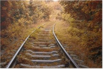 Póster Vía férrea en otoño